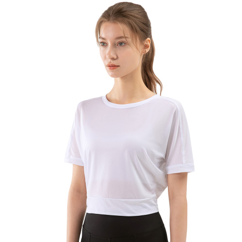White Back Open Twist Short Sleeve Yoga Tops TQE11370-1
