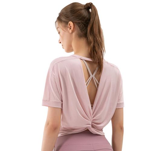 Pink Back Open Twist Short Sleeve Yoga Tops TQE11370-10