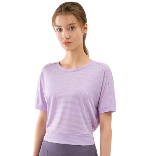 Purple Back Open Twist Short Sleeve Yoga Tops TQE11370-8
