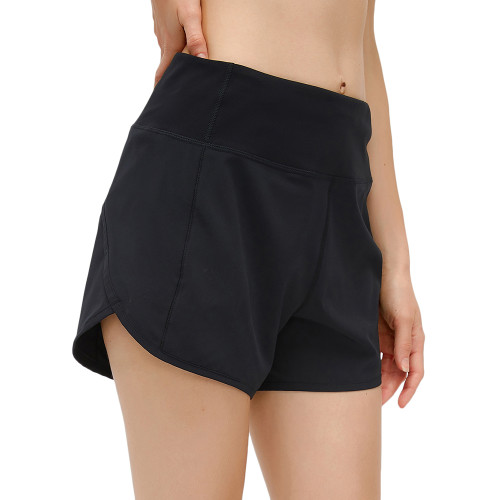 Black Lightweight Zipper Pocket Sports Yoga Shorts TQE91368-2