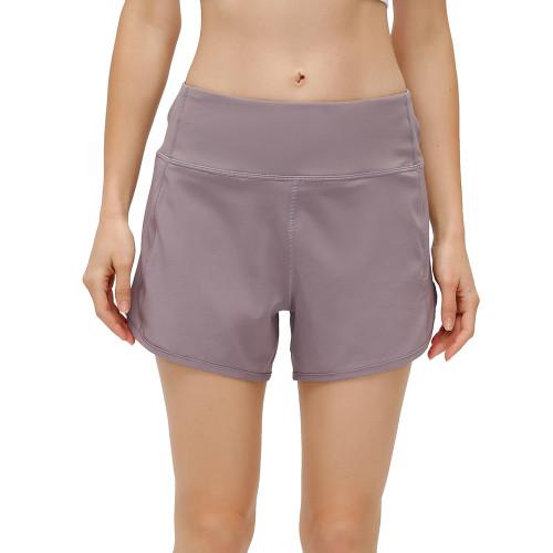 Purple Lightweight Zipper Pocket Sports Yoga Shorts TQE91368-8