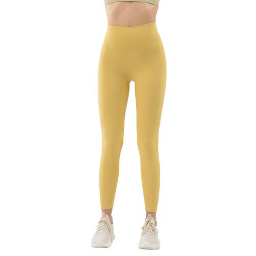 Yellow High Waist Tight Yoga Pants TQE11371-7