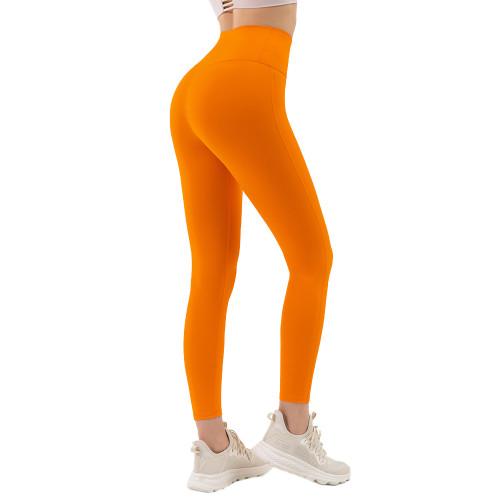 Orange High Waist Tight Yoga Pants TQE11371-14