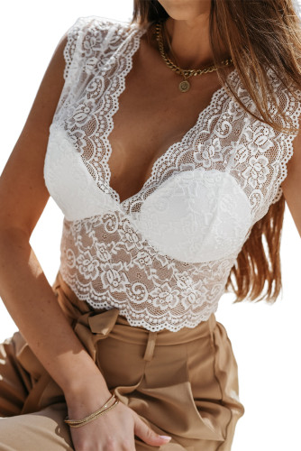 White Deep V Neck Lace Sleeveless Crop Top LC254509-1