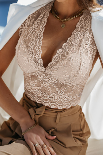 Apricot Deep V Neck Lace Sleeveless Crop Top LC254509-18