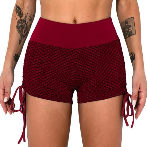 Red Honeycomb Side Drawstring Jacquard  Yoga Shorts TQE71373-3
