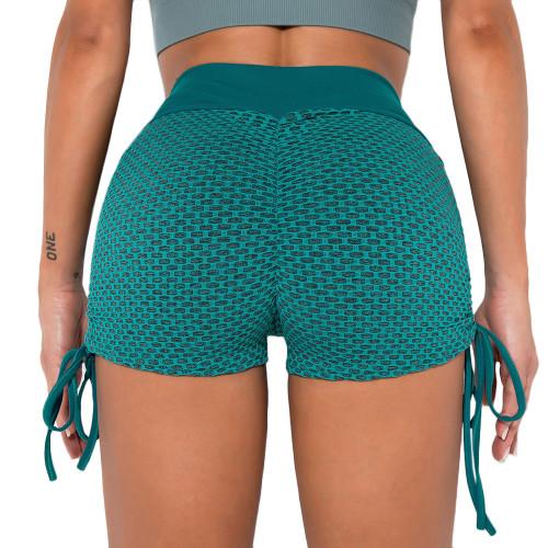 Green Honeycomb Side Drawstring Jacquard  Yoga Shorts TQE71373-9