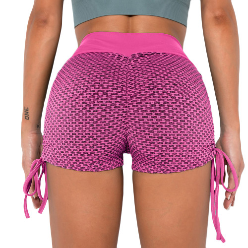 Pink Honeycomb Side Drawstring Jacquard  Yoga Shorts TQE71373-10