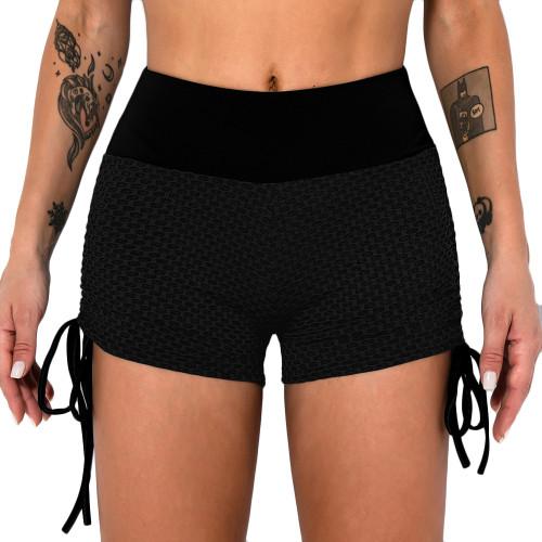 Black Honeycomb Side Drawstring Jacquard  Yoga Shorts TQE71373-2