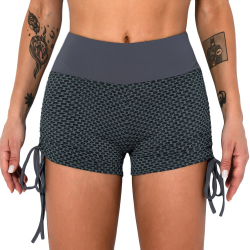 Black Ash Honeycomb Side Drawstring Jacquard  Yoga Shorts TQE71373-217