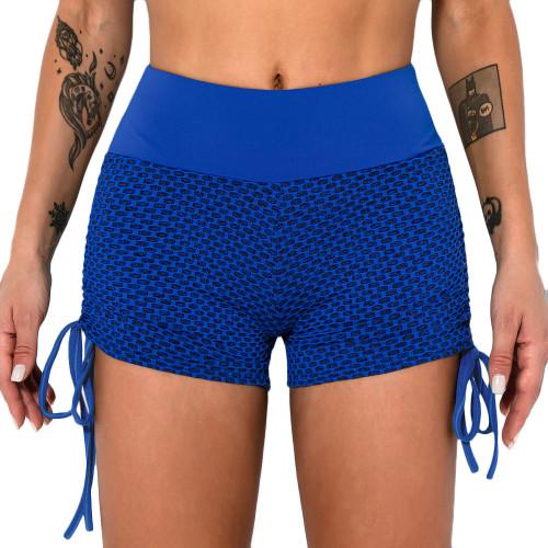 Blue Honeycomb Side Drawstring Jacquard  Yoga Shorts TQE71373-5