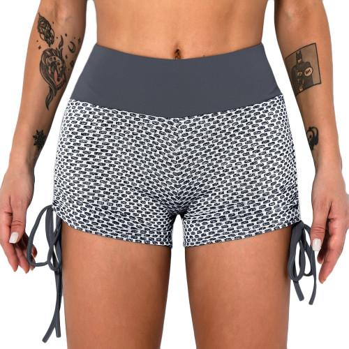 Gray Honeycomb Side Drawstring Jacquard  Yoga Shorts TQE71373-11