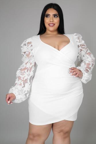 White Surplice Neckline Floral Puff Sleeves Plus Size Dress LC615427-1