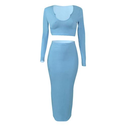 Light Blue Rib V Neck Crop Top With Skirt Set TQK710391-30