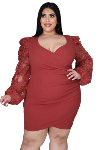 Surplice Neckline Floral Puff Sleeves Plus Size Dress LC615427-3