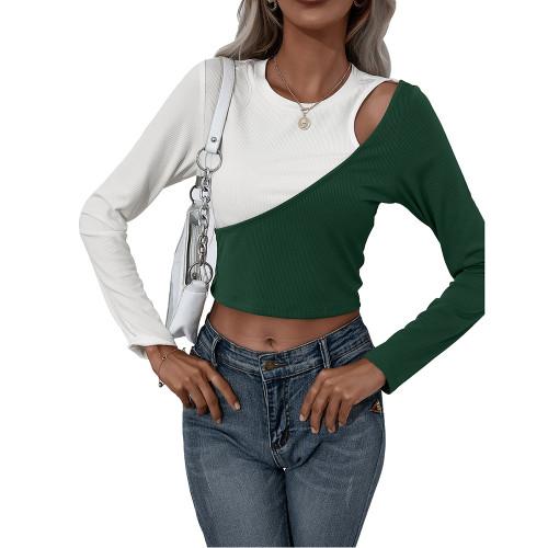 Dark Green White Color Block Long Sleeve Crop Tops TQK210805-36