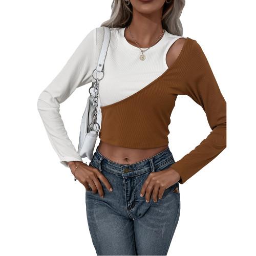Brown White Color Block Long Sleeve Crop Tops TQK210805-17