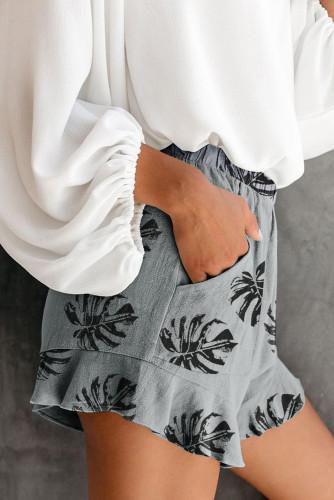 Gray Palm Tree Leaves Print Elastic Waist Shorts with Pocket LC73249-11