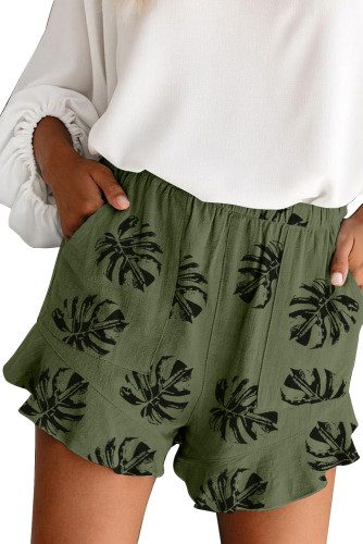 Green Palm Tree Leaves Print Elastic Waist Shorts with Pocket LC73249-9