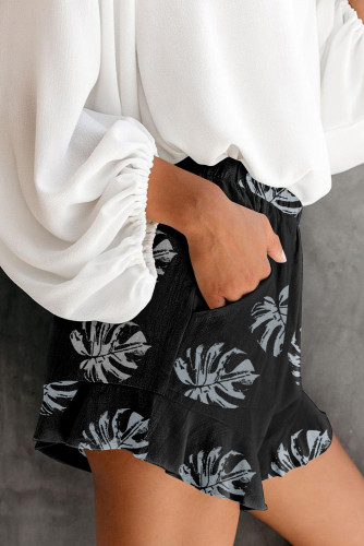 Black Palm Tree Leaves Print Elastic Waist Shorts with Pocket LC73249-2