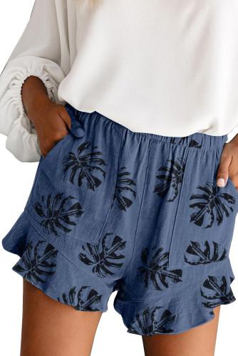 Blue Palm Tree Leaves Print Elastic Waist Shorts with Pocket LC73249-5