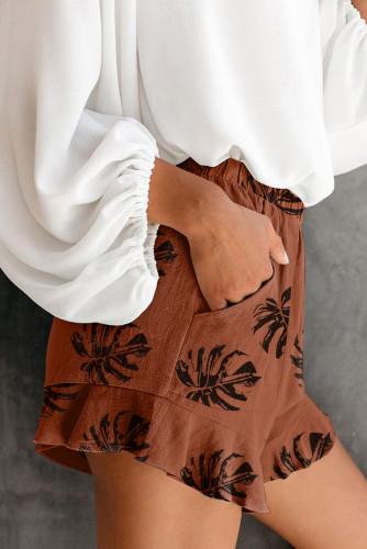 Khaki Palm Tree Leaves Print Elastic Waist Shorts with Pocket LC73249-16