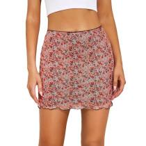 Pink Floral Print Double-layers Hight Waist Mini Skirt TQK360034-10