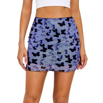 Purple Butterfly Print Double-layers Hight Waist Mini Skirt TQK360034-8