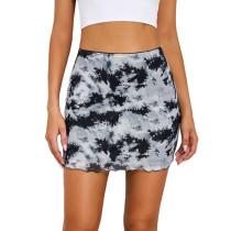 Black Printed Double-layers Hight Waist Mini Skirt TQK360034-2