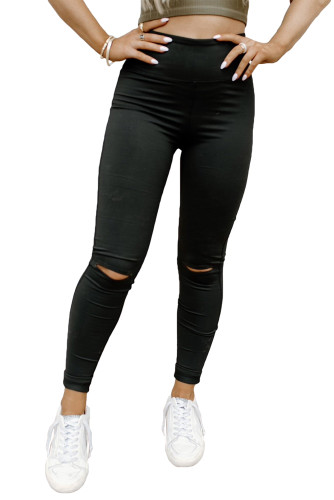 Black Ripped High Waist Skinny Leggings LC76395-2
