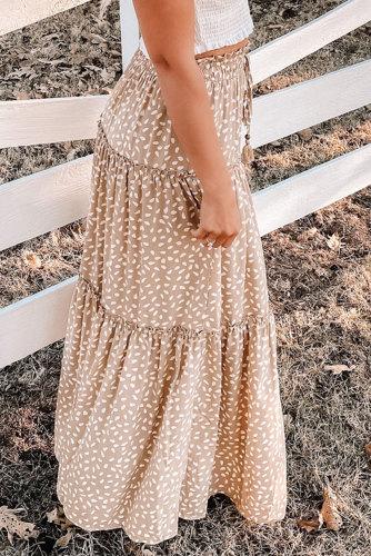 Smocked Ruffled Tiered Spots High Waist Maxi Skirt LC65662-15