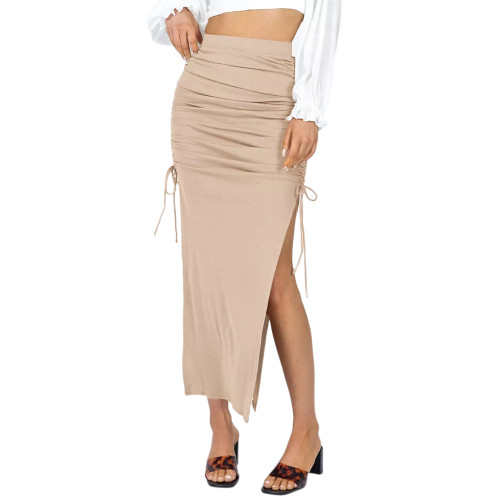 Apricot Slit Pleated Bodycon Maxi Skirt TQK360035-18