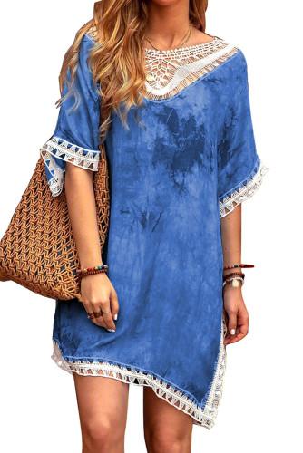 Blue Crochet Tie-dye Beach Dress LC42469-4