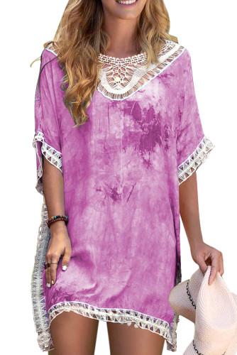 Purple Crochet Tie-dye Beach Dress LC42469-8