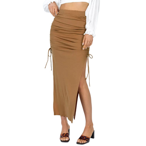 Khaki Slit Pleated Bodycon Maxi Skirt TQK360035-21