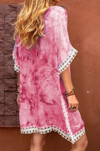 Pink Crochet Tie-dye Beach Dress LC42469-10