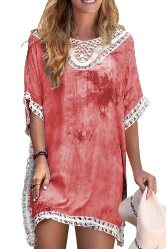 Red Crochet Tie-dye Beach Dress LC42469-3