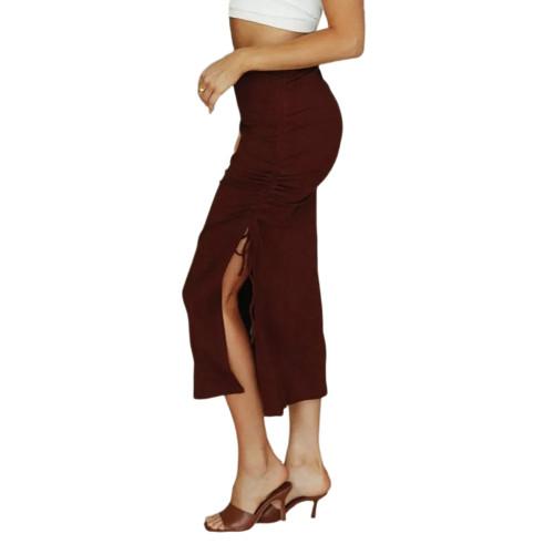 Wine Red Slit Pleated Bodycon Maxi Skirt TQK360035-23