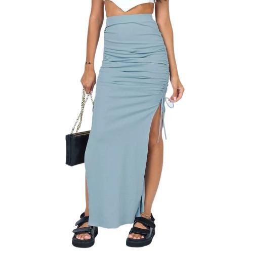 Light Blue Slit Pleated Bodycon Maxi Skirt TQK360035-30