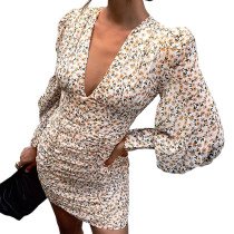 Apricot Floral Print Ruched Bodycon Dress TQK310646-18