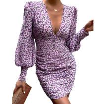Purple Floral Print Ruched Bodycon Dress TQK310646-8