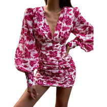Rosy Floral Print Ruched Bodycon Dress TQK310646-6