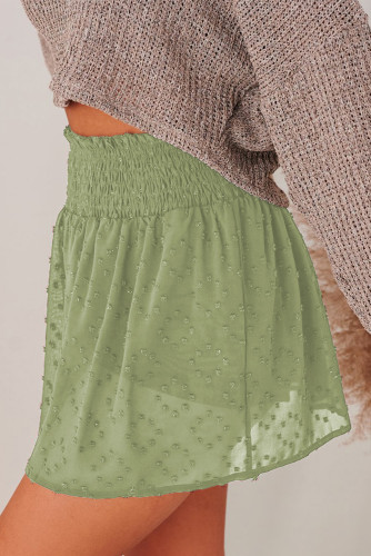 Green Smocked Waist Swiss Dot Casual Shorts LC771355-9