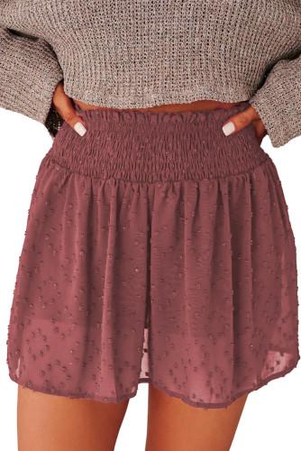 Red Smocked Waist Swiss Dot Sheer Skirt LC771355-3