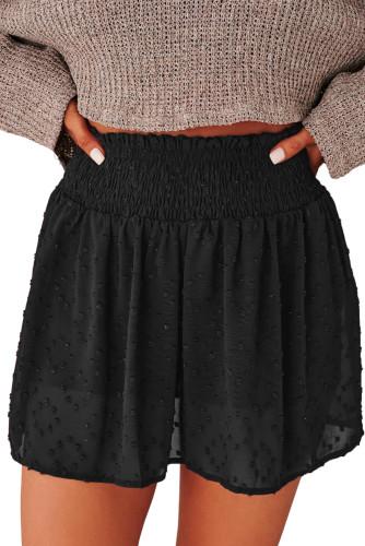 Black Smocked Waist Swiss Dot Casual Shorts LC771355-2