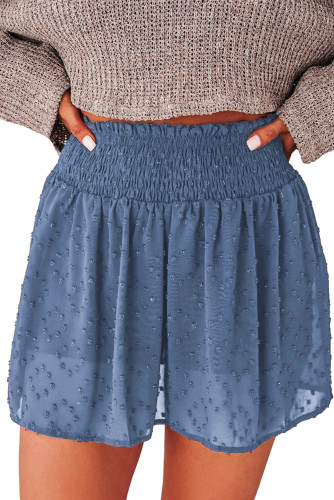Blue Smocked Waist Swiss Dot Casual Shorts LC771355-5
