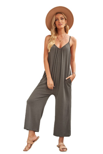 Gray Spaghetti Straps Wide Leg Pocketed Jumpsuits LC641350-11
