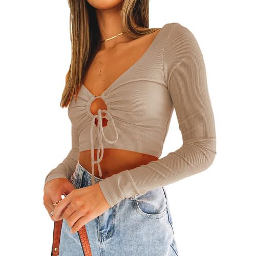 Khaki Open Front Drawstring Rib Long Sleeve Crop Tops TQK210811-21