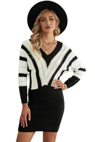 Black Colorblock Hollow Out Sweater Dress LC273121-2