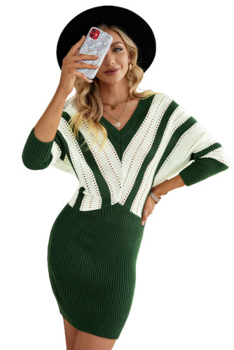 Green Colorblock Hollow Out Sweater Dress LC273121-9